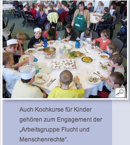 Auch Kochkurse fuer Kinder gehoert zum Engagement der Arbeitsgruppe Flucht+Menschenrechte