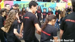 Auftritt der AG F+M Kinder-und Jugendtanzgruppe HEIMATSTERNE youth am Platz der Luftbrücke zum Tag gegen Rassismus.